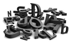 graue Buchstabenobjekte